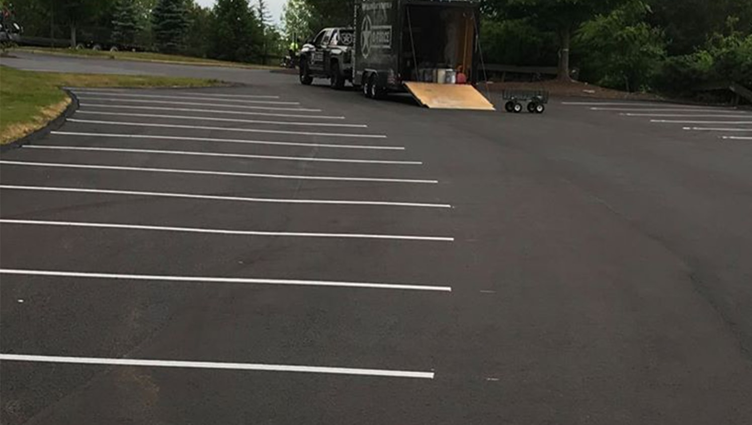 rounded parking lot restripe project