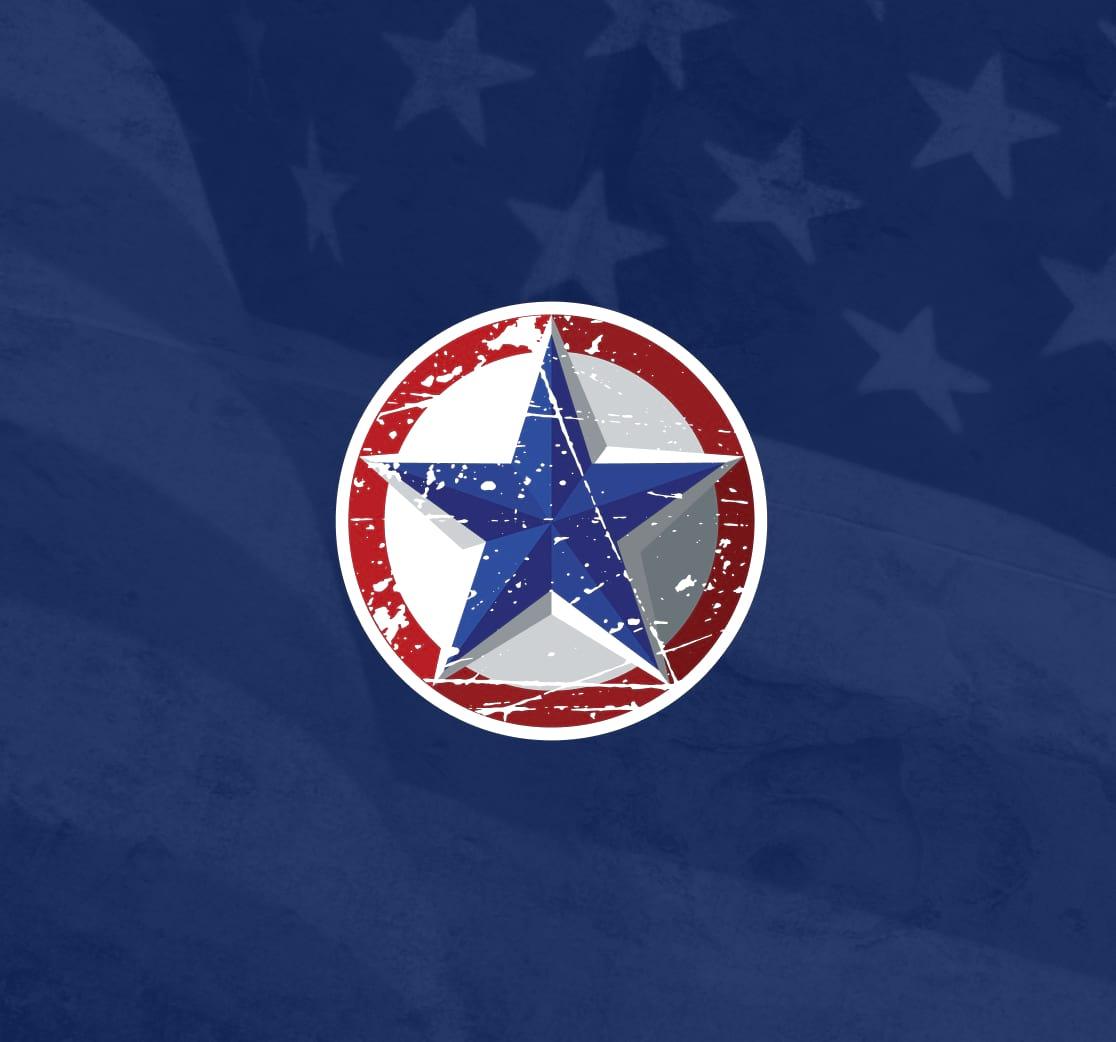 g-force star branding on american flag background