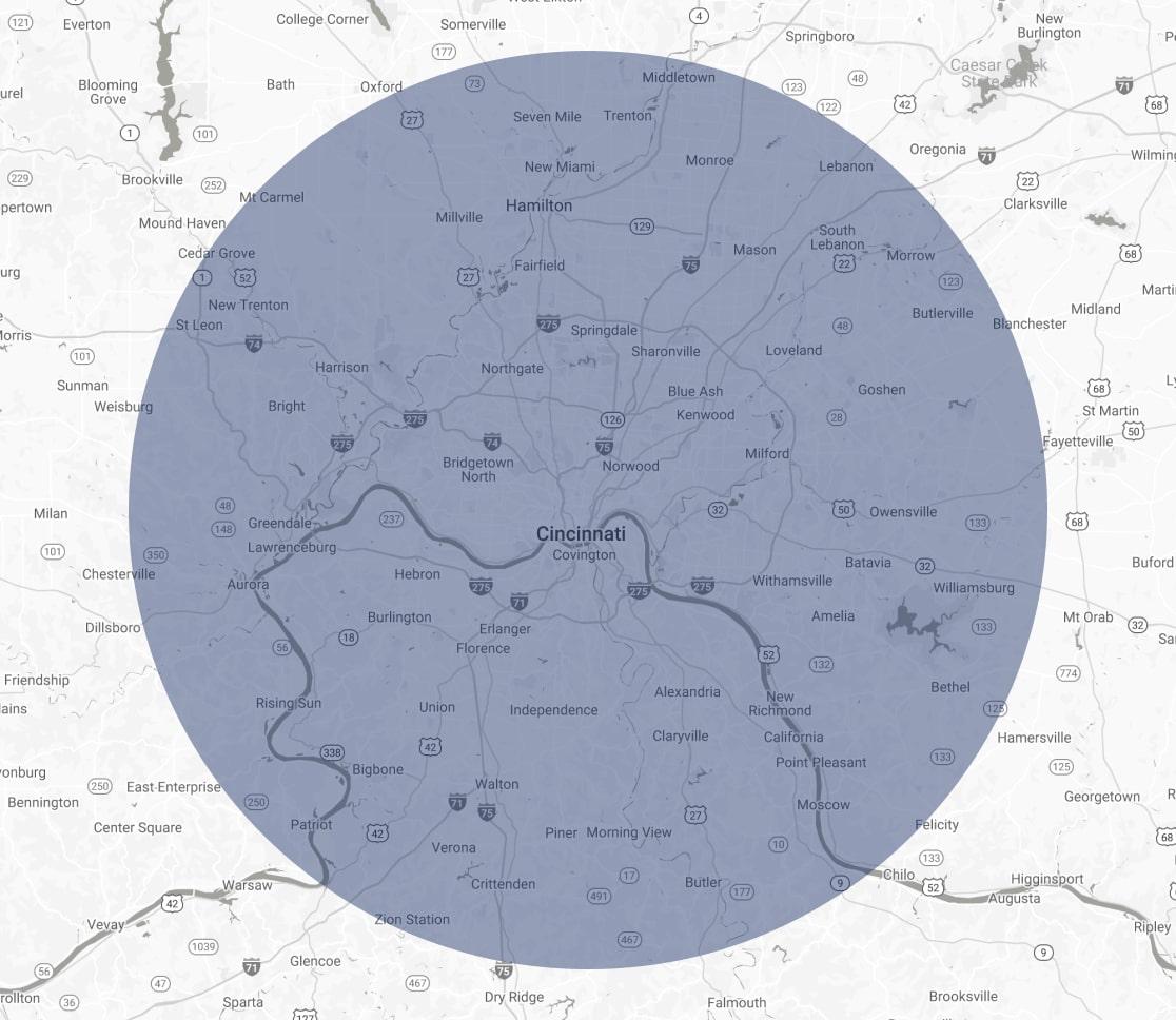 Cincinnati Cover Are Map