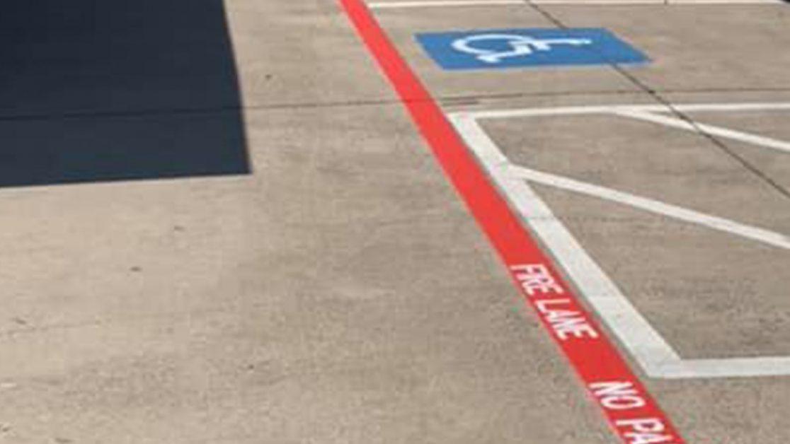 Fire Lane Markings in Texas Parking Lot image