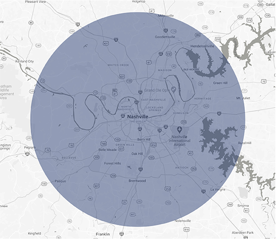 Nashville Cover Area Map