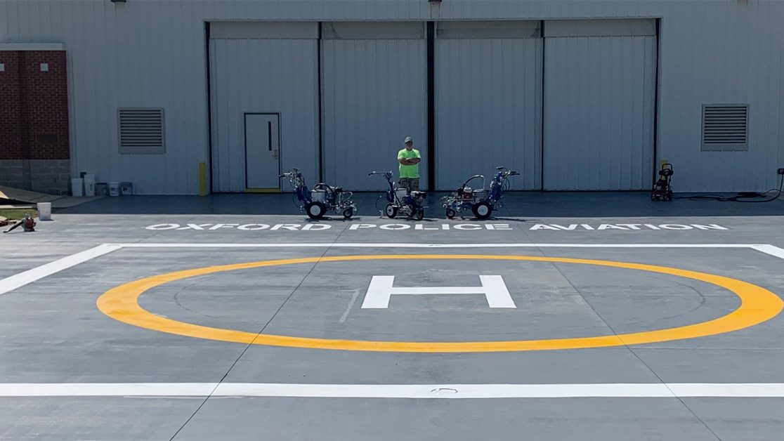 Helipad Restriping for Oxford Police Aviation image