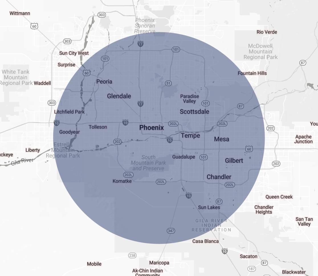 Phoenix Cover Area Map