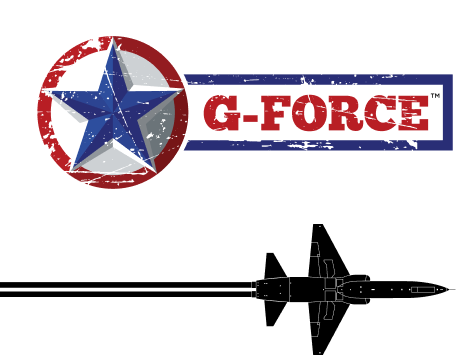 g-force branding with black aircraft