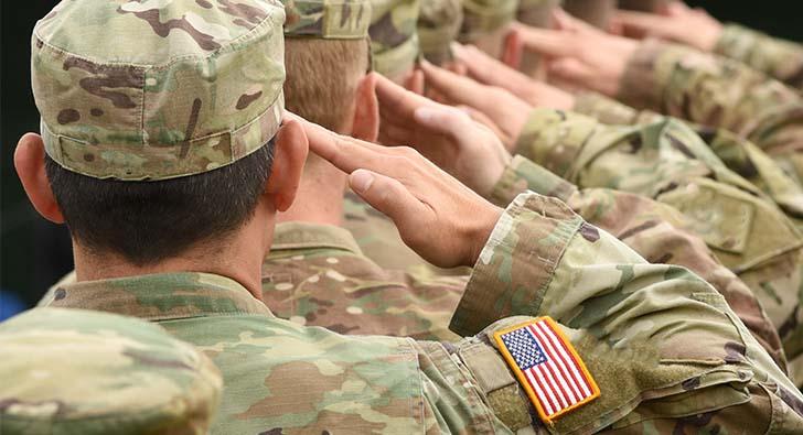 military men saluting
