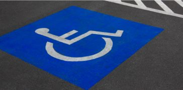 close up of fresh marked handicap parking lines