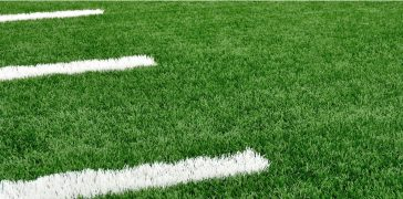 close-up of a football field markings