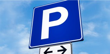 close-up of parking sign