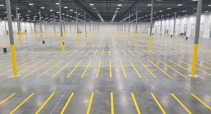 inside of a warehouse striping project