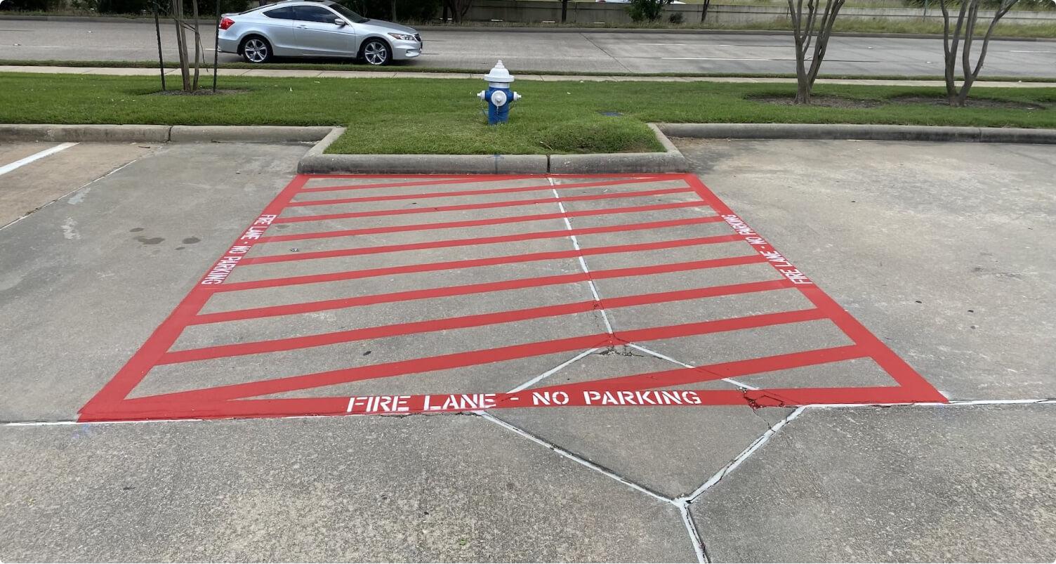 fire lane striping in a parking lot